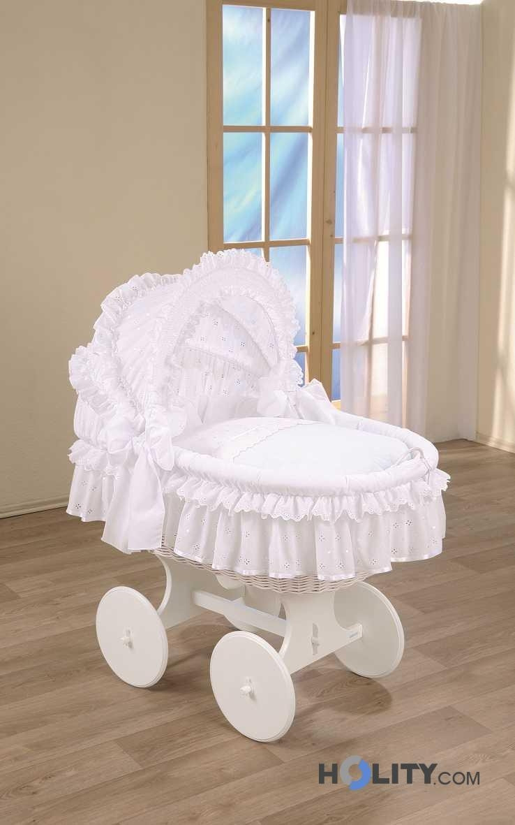 Bassinet with wheels and canopy h16601 for Baby bed with wheels