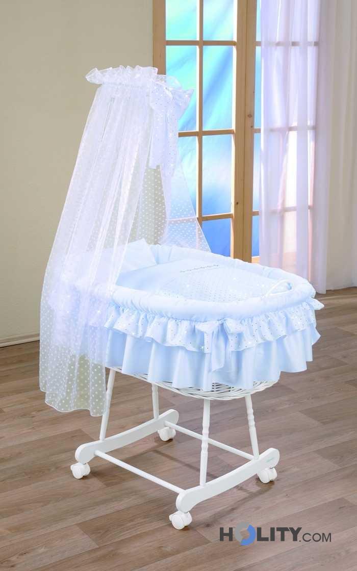 Wicker Bassinet With Wheels And Veil H16635