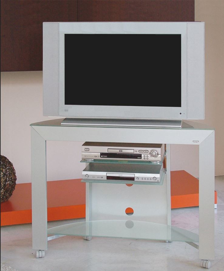 Tv Stand In Aluminum And Glass With Wheels H12509 Grey