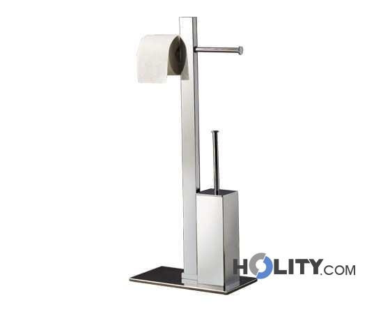 Portarotolo Con Scopino Wc.Bathroom Butler With Double Toilet Roll Holder And Toilet Brush H10702