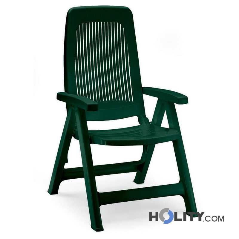 Poltrona Pieghevole Verde.Folding Deckchair In Resin H7462