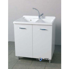 Laundry with double bowl in plastic and melamine h15607