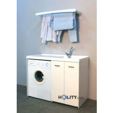 Wash with washing machine cover in plastic and melamine h15612