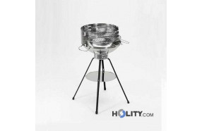 Charcoal barbecue stainless steel circular h17006