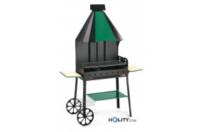 Charcoal barbecue with integrated hood h17017