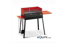 Charcoal barbecue with shelves h17012