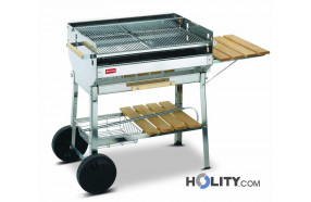 Charcoal barbecue in stainless steel h17019
