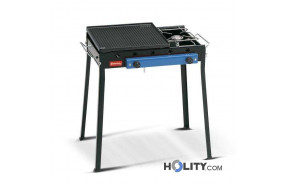 Gas barbecue with cast iron plate and traditional cooker h17026