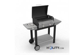 Gas barbecue with lava rock and wheels h17031