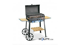 Gas barbecue with structure in steel plate h17032