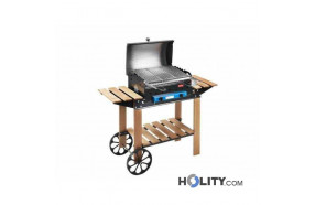 Gas barbecue with wooden frame h17033