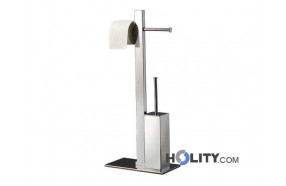 bathroom butler with double toilet roll holder and toilet brush