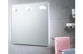 Square mirror with frame in thermoplastic resins with lights