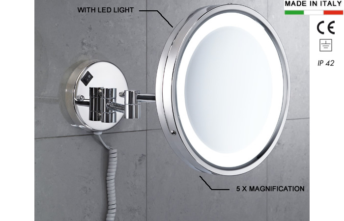 h10737-Magnifying  5X mirror with LED light  in stainless steel